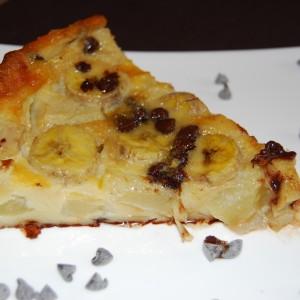 Clafoutis poire, banane et pépites de chocolat